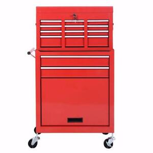 NEW 2 PIECE RED TOOL BENCH ROLLER CABINET PARTS STORAGE ORGANIZATION SHOP