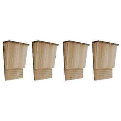 Weatherproof Wood (4x Bat Box House Shelter Single Chamber Weatherproof Cedar Wood Garden Outdoor )