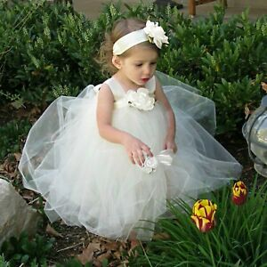 Designer Ivory Flower Girl Tutu Dress & Flower Headband Set