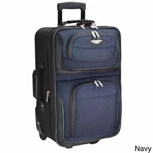 "New, Travel Select by Traveler's Choice Amsterdam 21"" Lightweight Carry On Upright Suitcase; Navy *PickupOnly"
