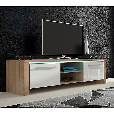 the latest 6e087 7be48 Beautiful New Gloss White & Oak Wood TV Stand Unit Table Led Lights 160cm |  in Drumchapel, Glasgow | Gumtree