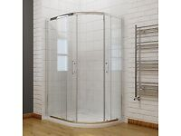 Walk In Quadrant Shower screens and stone tray 1000x800 with plinth & waste. Offset Left hand