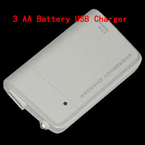 Mini Portable USB 3 X AA Battery Emergency Charger With LED Indicator White