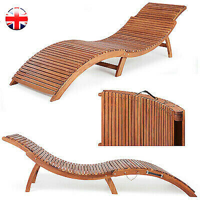Wooden Folding Sun Lounger Ergonomic Deck Chair Comfortable Headrest Home Gift