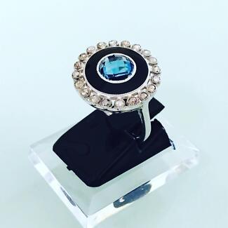 Blue Topaz diamonds black enamel women's ring gold valuation