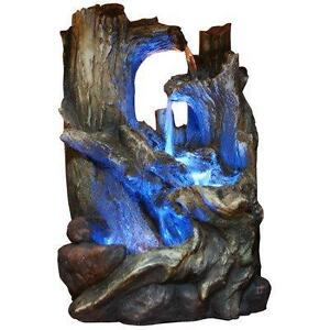 Fibreglass/Polystone Tree Trunks Waterfall Fountain with LED Light by Alpine NEW