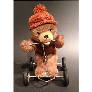 Vintage mohair teddy bear pull toy