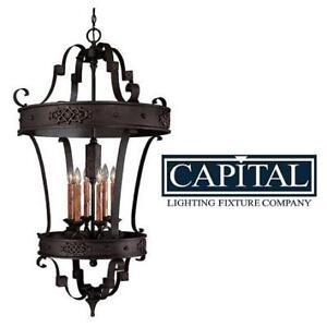 NEW 6 LIGHT FOYER HALL PENDANT - 127927656 - CAPITAL LIGHTING RIVER CREST RUSTIC IRON FINISH