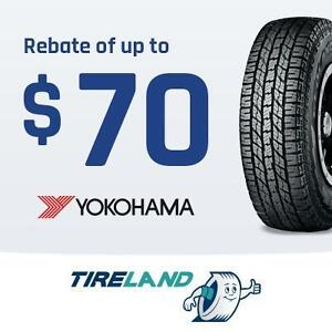 Rebate of up to $70 with the purchase of 4 select Yokohama tires