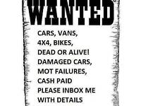 WANTED CARZ SCRAP/MOT FAILURES BARN FINDS 07903500027