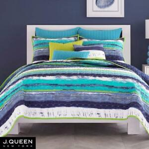 New, Cordoba Teal Quilted Coverlet Bedding from J by J Queen New York