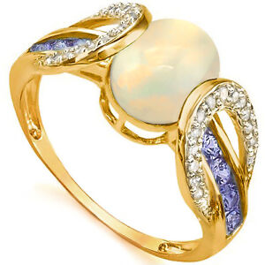 Ladies Diamond and Opal Ring