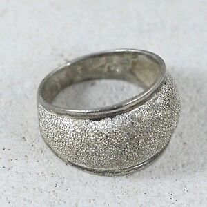 "Sterling Silver Textured Cigar Ring 7.75"" (#9.5)"