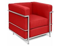 Bauhaus LC2 - bar sofas and chairs. Genuine leather or eco-leather. Chrome-plated steel frame