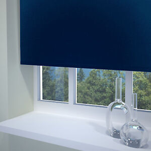 "Navy blue blackout roller blind (47-3/4""W x 70""L)"