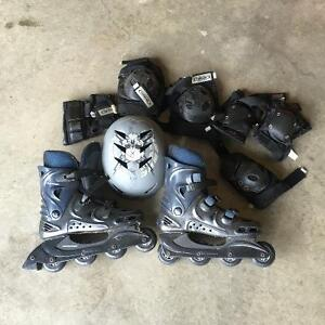 Size 9 roller blades, pads and helmet