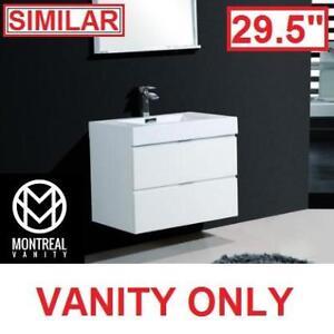 "NEW MV BLISS 29'5"" VANITY COMBO - 127131774 - MONTREAL VANITY GLOSSY WHITE CABINET AND TOP BATH BATHROOM VANITIES STO..."