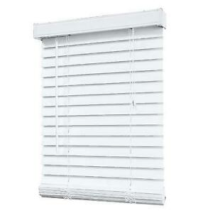 """Brand New in box White Faux Wood Blinds, 44"""" W X 48"""""""