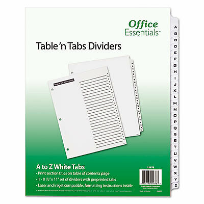 Table N Tabs Dividers 26-tab A To Z 11 X 8.5 White 1 Set 11676 11676 - 1