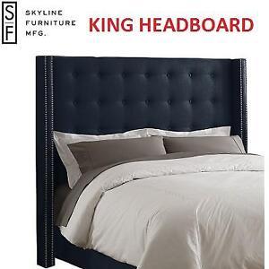 NEW LINEN NAVY KING HEADBOARD - 121867852 - SKYLINE FURNITURE NAIL BUTTON WINGBACK