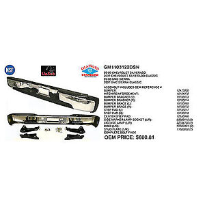 New Chrome 1999-2007 Chevrolet Silverado Rear Bumper Assembly