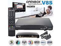 BETTER PRICE - UPGRADED OPENBOX V8S 663MHZ IPTV/SAT RECEIVER BOX ONLY - 12 MTHS