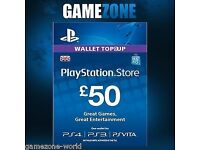 PSN £50 wallet top cards