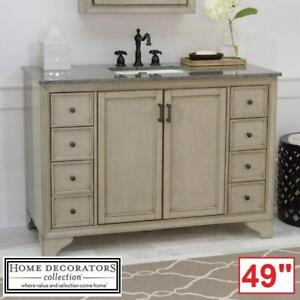"NEW* HDC HAZELTON 49"" VANITY COMBO - 129240254 - HOME DECORATORS COLLECTION ANTIQUE GREY CABINET GREY GRANITE TOP VAN..."