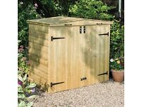 5ft DOUBLE WHEELIE BIN STORE LIFTING LIDS PRESSURE TREATED WOODEN GARDEN SCREEN