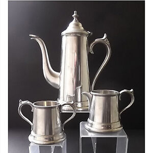 Vintage Worcester pewter coffee pot, cream and sugar
