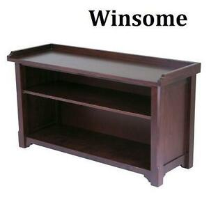 NEW WINSOME WOOD STORAGE BENCH - 105317379 - ANTIQUE WALNUT FINISH - HALL BENCH