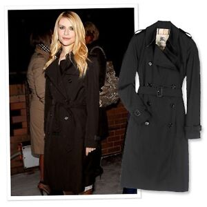 Burberry long black trench coat. size 14