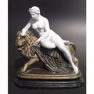 Antique Chalkware Figure of the Goddess Cybele Seated on a Lion