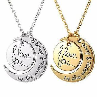 I Love You To The Moon & Back Necklace - Unisex - Brand New