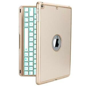 iPad Air Keyboard Case, iEGrow F8S Slim Bluetooth Clamshell Protective Cover with 7 Colors LED Backlit Keyboard for iPad