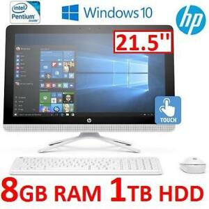 "NEW HP 22-B002 AIO TOUCH DESKTOP PC - 129457568 - 21.5"" TOUCHSCREEN PENTIUM J3710 8GB RAM 1TB HDD WINDOWS 10 COMPUTER"