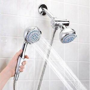 New-High-Pressure-5-Setting-Dual-Hanheld Shower Head with Divert mount hose - FREE SHIPPING