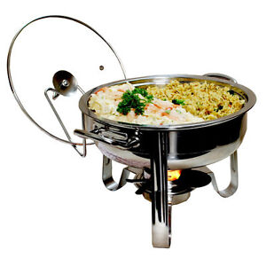 6 Piece 4-qt. Stainless Steel Chafing Dish Set (round)
