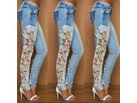 Ladies Ripped Denim skinny lace jeans