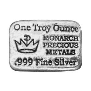1 oz Lingotin Argent Pur Monarch Precious Metals Silver Bar 999
