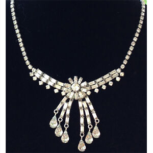 Vintage clear rhinestone Sherman necklace