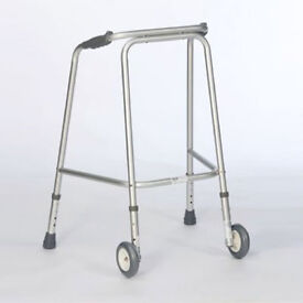 Standard Walking Frame, aluminium, with Wheels by Cooper, multiple adjustable height settings