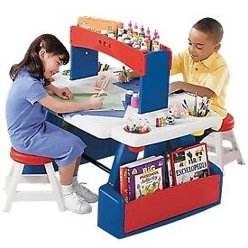 step 2 art desk with 2 chairs