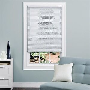 Vinyl white mini blinds 27 inch by 64 inch new