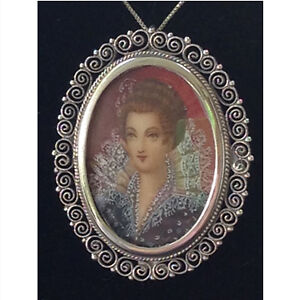 Antique silver portrait brooch/pendant from the late 1800's