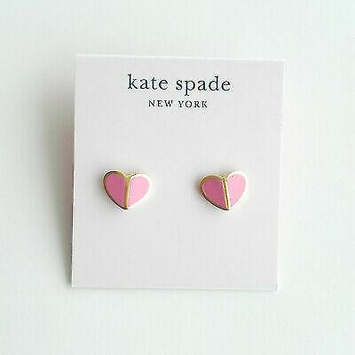 Kate spade New York earrings heritage spade heart studs, white, pink, Black,
