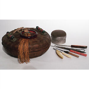 Vintage Chinese Sewing Basket With Implements