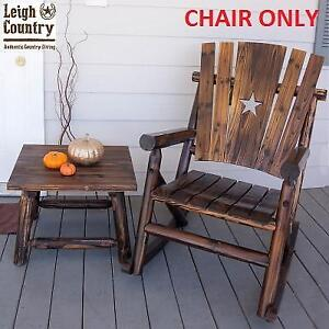 USED LEIGHCOUNTRY ROCKING CHAIR TX 93605 140195126 CHAR LOG PATIO WITH STAR