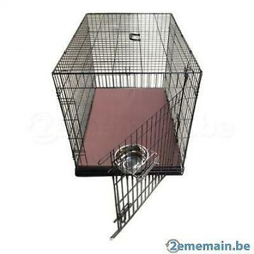 Cage complète avec bac + coussin brun + bol inox 6 tailles