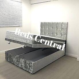 Ottoman Crush Velvet Storage Double Bed Frame Only